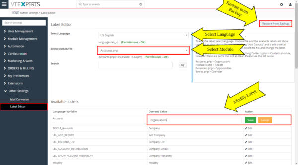 Label Editor – Extension for VTiger – edit label