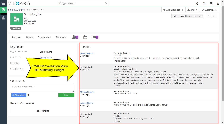 email conversation view – summary widget on organization