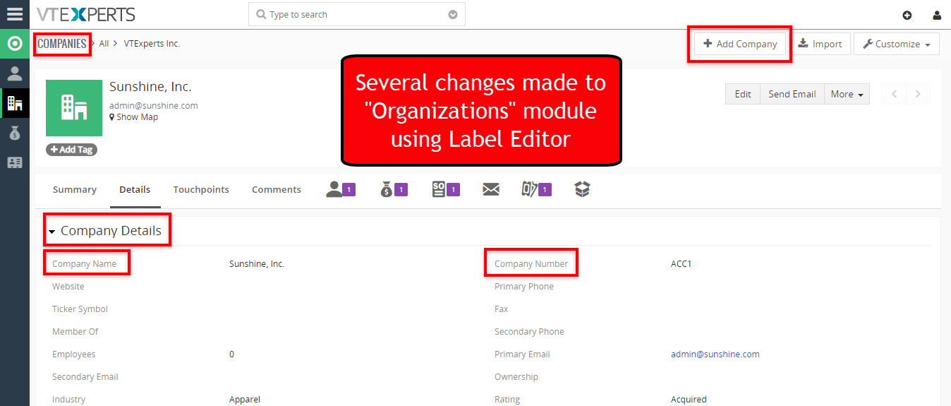 label editor for vtiger by vtexperts premium extension pack example