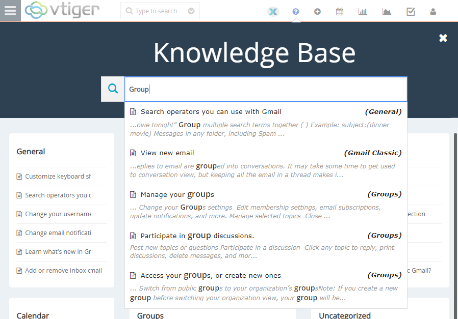 vtiger knowledge base smart search
