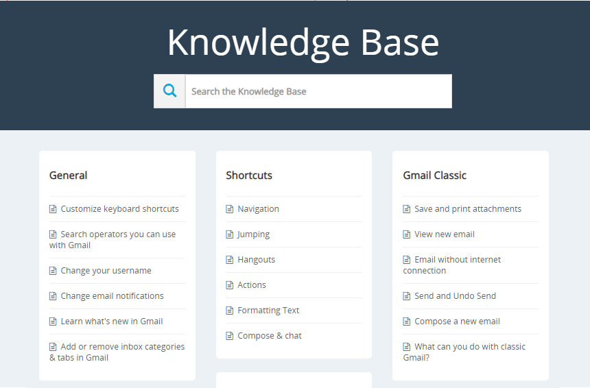 Knowledge base popup view