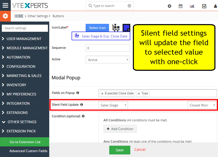 custom buttons for vtiger update field with one click