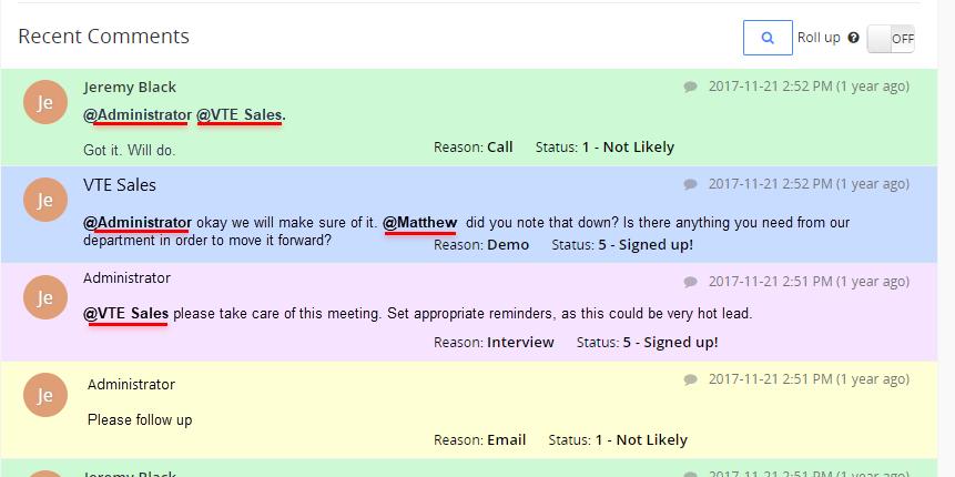 vtiger 7 advanced comments tag users