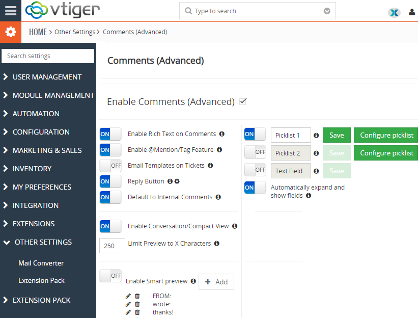 vtiger 7 advanced comments configuration