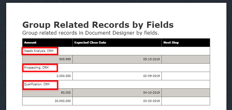 document designer vtiger vtexperts group related records by fields outcome