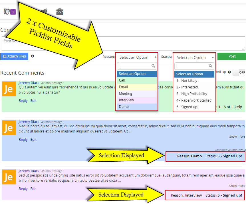 vtiger advanced comments summary view
