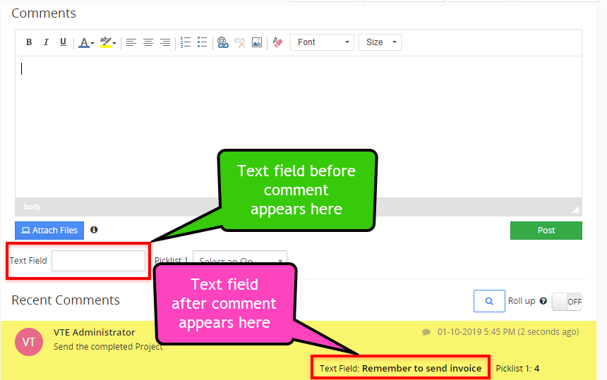 vtiger advanced comments vtexperts text field
