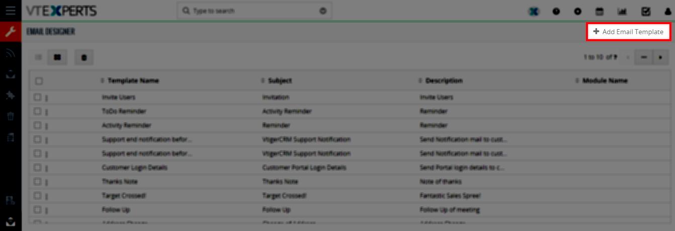 Add new email template email designer vtiger vtexperts