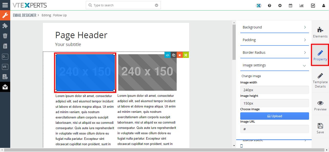 vtiger vtexperts email designer image box customization