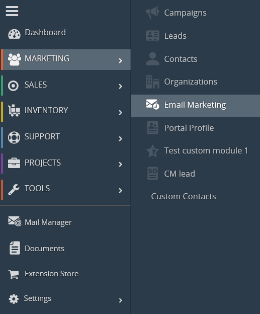 Adding Custom modules to Email Marketing Extension